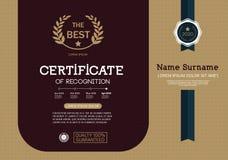 Certifikat av mallen för orientering för mall för prestationramdesign i formatet A4 Royaltyfria Foton