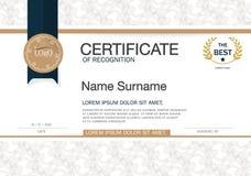 Certifikat av mallen för orientering för mall för prestationramdesign i formatet A4 Arkivbild