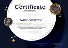 Certifikat av mallen för orientering för mall för prestationramdesign i formatet A4 Arkivbilder