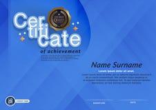 Certifikat av mallen för orientering för mall för prestationramdesign i formatet A4 Royaltyfria Bilder