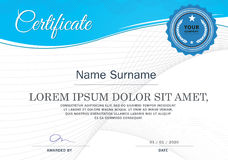 Certifikat av mallen för prestationramdesign, blått Arkivfoto