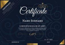 Certifikat av mallen för prestationramdesign, blått Arkivfoton