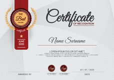 Certifikat av mallen för prestationramdesign, blått stock illustrationer