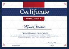 Certifikat av mallen för prestationramdesign som är blåvitt Arkivfoton