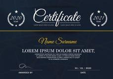 Certifikat av mallen för prestationramdesign som är blåvitt Royaltyfri Bild