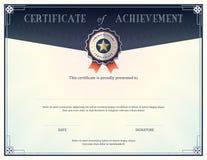 Certifikat av prestationdesignmallen Royaltyfri Bild