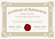 Certifikat av prestationen Arkivfoton