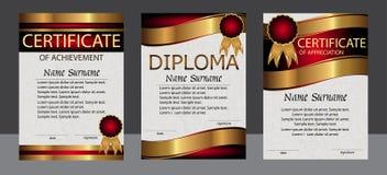Certifikat av prestationen, gillande, diplomlodlinjetempl vektor illustrationer