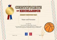 Certifikat av utmärkthetmallen i sporttemat för basket Arkivfoton