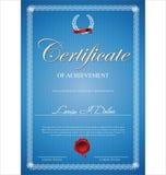 Certifikat diplom av avslutning Arkivfoton