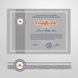 Certifikat diplom, designmall Arkivbild