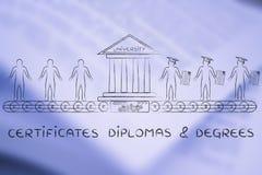 Certifikat diplom & grader, från studenter till kandidater royaltyfria foton