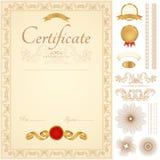 Certifikat-/diplombakgrund. Guld- gräns Royaltyfri Bild