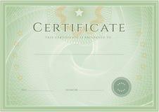 Certifikat-/diplomutmärkelsemall. Grungepatte Royaltyfri Fotografi