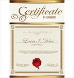 Certifikat- eller diplommall Arkivbild