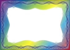 Certifikat- eller diplommall med regnbågeramen royaltyfri illustrationer