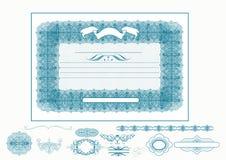 Certifikat eller kupong för design i blå färg Royaltyfri Illustrationer