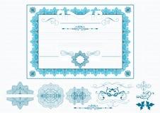 Certifikat eller kupong i blå färg Royaltyfri Illustrationer