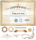 Certifikat- eller kupongmall med tappninggränsen Royaltyfri Bild