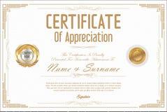 Certifikat eller retro design för diplom Royaltyfri Bild