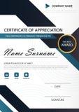 Certifikat för elegans för blå svart vertikalt med vektorillustrationen, vit ramcertifikatmall med den rena och moderna modellen vektor illustrationer