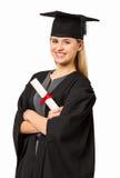 Certifikat för studentIn Graduation Gown innehav Royaltyfri Fotografi