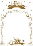 Certifikat för vit jul med jultomten Arkivbilder