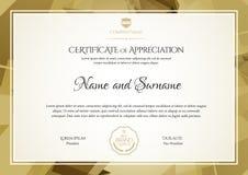 certifikat Gräns för malldiplomvaluta royaltyfri illustrationer