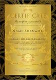 Certifikat guld- designmall för diplom, bakgrund med blom-, filigranmodell, snirkelgräns, guld- ram royaltyfri illustrationer