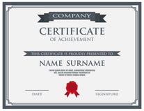 Certifikat med vaxskyddsremsamallen Royaltyfri Fotografi