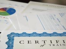 Certifikat och annat dokument Arkivbild
