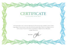 Certifikat. Vektormall Arkivbilder
