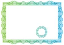 Certifikat. Vektormodell för valuta, diplom Royaltyfri Foto