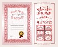 certifikatdesignmall royaltyfri illustrationer