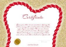 Certifikatet eller diplomet för en tand- klinik med ett rött kulört band i formen av en tand på en bakgrund av guld mousserar Vec Royaltyfria Foton