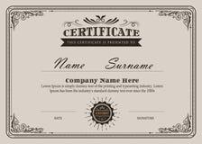 Certifikatet frodas den eleganta tappningvektorn stock illustrationer