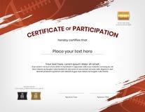 Certifikatmall i rugbysporttema med gränsramen, dopp royaltyfri illustrationer