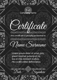 Certifikatmall med den dekorativa sömlösa modellen Arkivbild