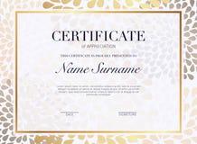Certifikatmall med den guld- garneringbeståndsdelen Designdipl stock illustrationer