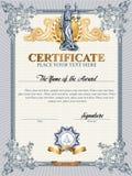 Certifikatmall med Femida Arkivbilder