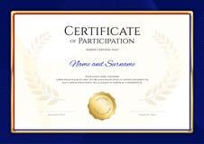 Certifikatmallen i sporttema med blått gränsar ramen, Dipl stock illustrationer