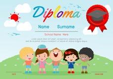Certifique el diploma de los niños, vector del diseño del marco del fondo del espacio de la disposición de la plantilla de la gua ilustración del vector