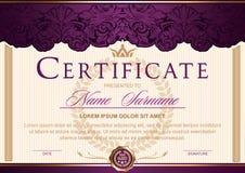 certifique horizontal en el vintage real del estilo, rococó, barroco, encanto Púrpura oscura con color oro stock de ilustración