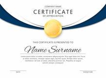 Certifique la plantilla en colores negros y azules elegantes Certificado de aprecio, plantilla del diseño del diploma del premio Fotografía de archivo libre de regalías
