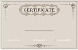 Certifique la tarjeta de papel Imágenes de archivo libres de regalías