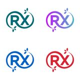 ? certo que o molde do logotipo combinado com as letras R e X, estender? e na extremidade h? folhas ilustração royalty free