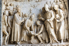 Certosa di Pavia. (Lombardy, Italy), church of the historic abbey, detail of the facade Royalty Free Stock Photography