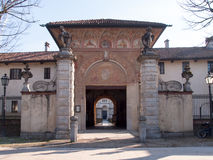 Certosa di Pavia. Main entrance to the garden with views of the Stock Photo