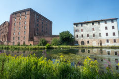Certosa di Pavia, old house and factory Stock Photography