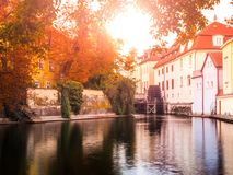 Certovka, Devil River, with watermill wheel at Kampa Island, Prague, Czech Republic. Royalty Free Stock Photography